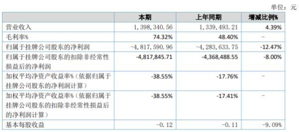 汉咏股份2020年上半年亏损481.76万亏损增加 销售费用同比增加