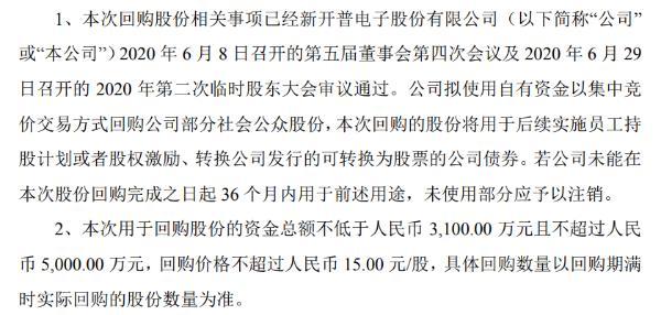 新开普将花不超5000万元回购公司股份 用于股权激励