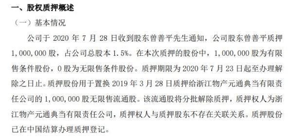 东创科技股东曾善平质押100万股 用于置换股份