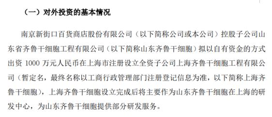南京新百控股子公司出资1000万元对外投资设立全资子公司