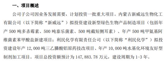 利民股份计划投资重大项目 项目总投资额预计为14.79亿元