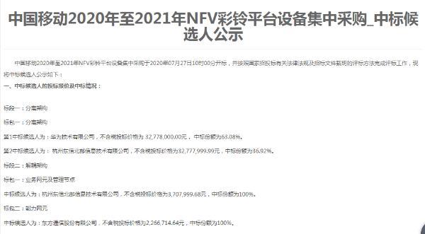 中国移动NFV彩铃平台设备集采:华为等三厂商中标