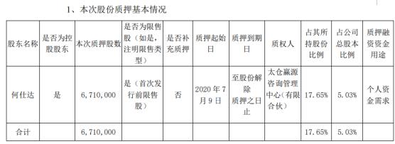 淳中科技股东何仕达质押671万股 用于个人资金需求