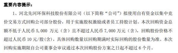 先河环保将花不超7000万元回购公司股份 用于员工持股计划