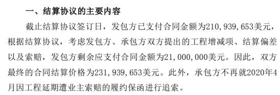 中国海诚全资子公司与业主就阿联酋ITTIHAD造纸厂项目签订结算协议合同结算价格为2.32亿美元