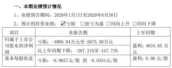 海特高新2020年上半年预计亏损4968.94万元-2675.58万元 较上年同期由盈转亏
