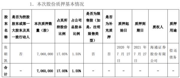 美联新材股东张朝凯质押706万股 用于偿还债务