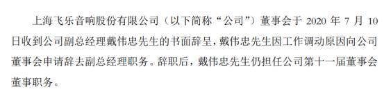 *ST飞乐副总经理戴伟忠辞职 2019年薪酬为76.5万元