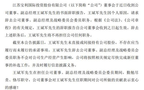 宝利国际副总经理王斌军辞职 2019年薪酬30万元
