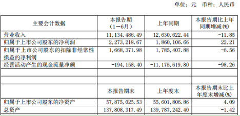 祥龙电业2020年上半年净利227.32万增长22.2% 营业成本减少