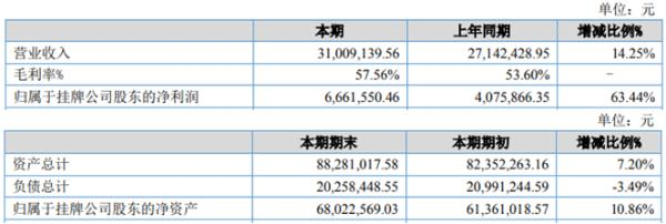 乐创技术2020年上半年净利666.16万增长63.44% 销售毛利同比增长