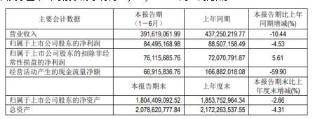 宁波高发2020年上半年净利8449.52万减少4.53% 合并雪利曼及主要产品销售数量下降
