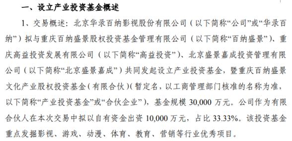 华录百纳拟参与设立产业投资基金 基金规模3亿元