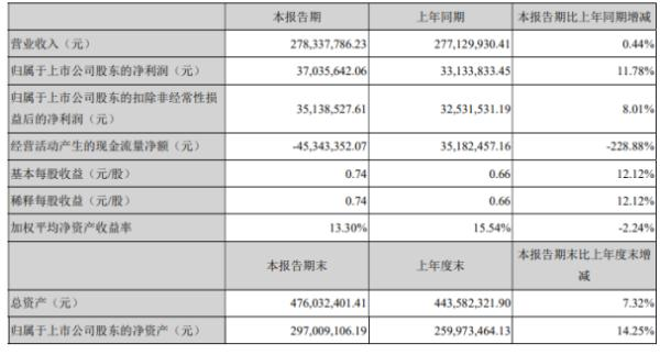 美瑞新材2020年上半年净利3703.56万增长11.78% 国内业务销量增长