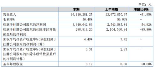 畅想高科2020年上半年净利394.06万增长54.92% 其他收益和营业外收入增加