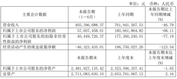 嘉元科技2020年上半年净利5760.75万下滑68.11% 订单和产品出货量减少