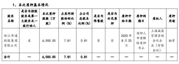 世纪华通控股股东华通控股质押6000万股 用于融资