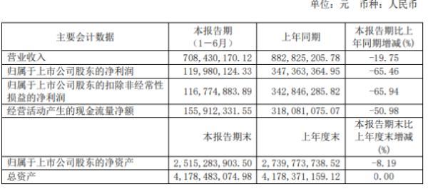 西藏珠峰2020年上半年净利1.2亿下滑65.46% 塔中矿业销售收入减少