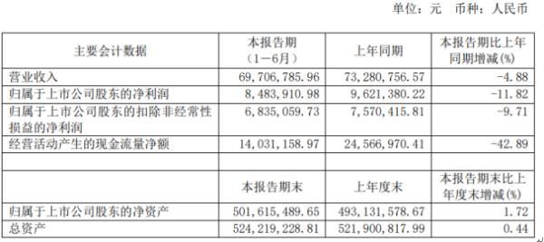 朗博科技2020年上半年净利848.39万下滑11.82% 销售下滑