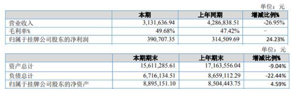 和鼎科技2020年上半年净利39.07万增长24.23% 收到政府补助