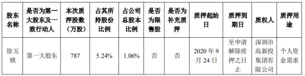 远望谷控股股东徐玉锁质押787万股 用于个人资金需求