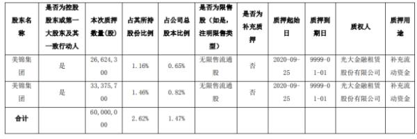 美锦能源第一大股东美锦集团质押6000万股 用于补充流动资金