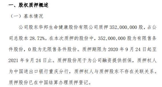 颖泰生物股东质押3.52亿股 用于融资提供担保