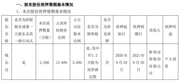 兄弟科技控股股东钱志达质押3500万股 用于个人投资