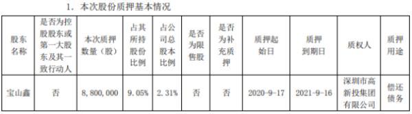 银宝山新股东宝山鑫质押880万股 用于偿还债务
