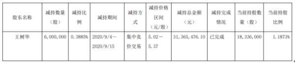 滨化股份股东王树华减持600万股 套现约3136.55万元