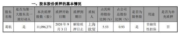 创业慧康控股股东葛航质押1109.63万股 用于非融资性担保