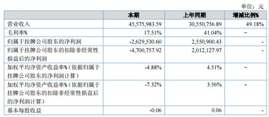维纳软件2020年上半年亏损262.95万同比由盈转亏 新增项目毛利率降低