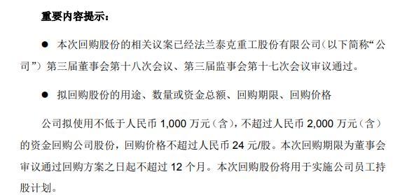 法兰泰克将花不超2000万元回购公司股份 用于员工持股计划