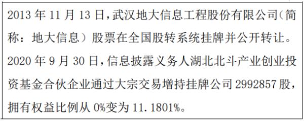 地大信息股东增持299.29万股 权益变动后持股比例为11.18%