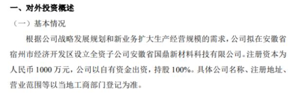 金鼎安全拟对外投资设立全资子公司 注册资本1000万元