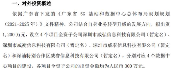 天威视讯拟设立4个项目全资子公司 注册资本均为300万元
