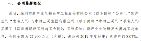 新产业签署《深圳市建设工程施工合同》 金额为2.79亿元(含税)