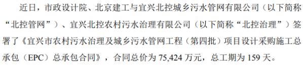 华光环能子公司签署项目设计采购施工总承包(EPC)项目 总价为7.54亿元
