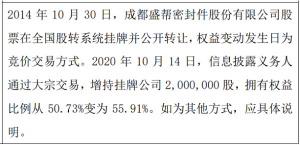 盛帮股份股东赖喜隆增持200万股 权益变动后持股比例为55.91%