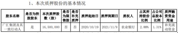 广汇物流控股股东广汇集团质押1650万股 用于补充流动资金