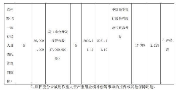 赛轮轮胎股东质押6000万股 用于生产经营