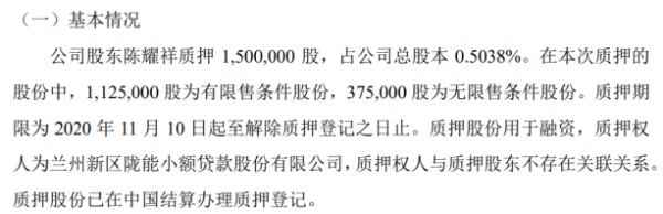 中天羊业股东陈耀祥质押150万股 用于融资