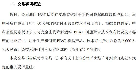 长鸿高科签订年产60万吨PBAT树脂聚合技术许可合同
