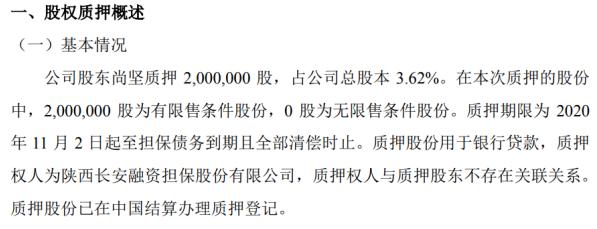 远古信息股东尚坚质押200万股 用于银行贷款