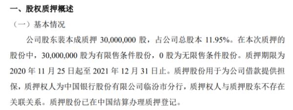益通股份股东裴本成质押3000万股 用于为公司借款提供担保