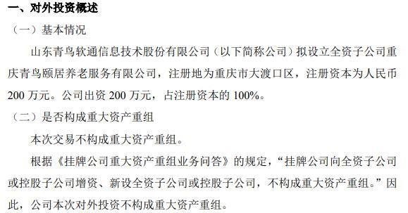 青鸟软通拟设立全资子公司 注册资本为200万元
