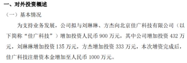光音网络对控股子公司增资432万元