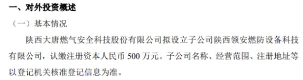 大唐科技对外投资设立全资子公司 注册资本500万元