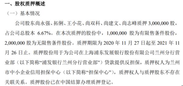 爽口源6名股东合计质押300万股 用于为公司贷款提供反担保