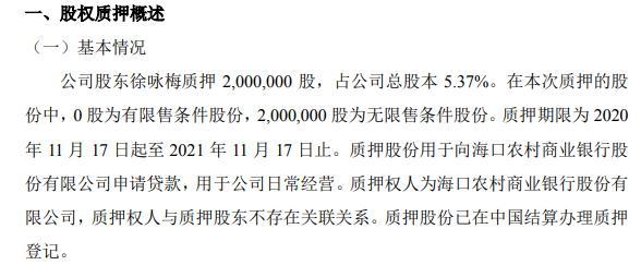 天地人股东徐咏梅质押200万股 用于日常经营